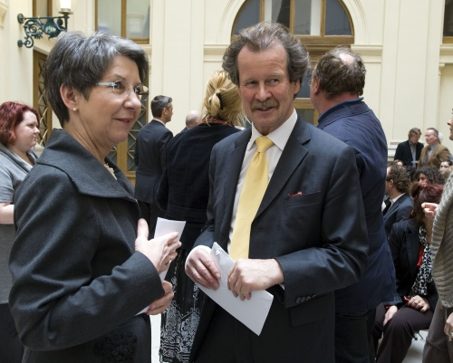 President of the National Assembly Barbara Prammer and Manfred Nowak at the book presentation in Palais Epstein
