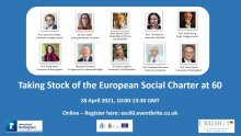 Online Event: Taking Stock of the European Social Charter at 60 – 28 April 2021, 10–13:30