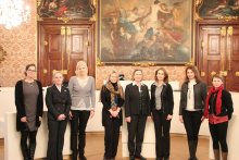 The Delegation visiting the President of the Provincial Assembly of Styria, Dr. Bettina Vollath, in the Assembly Hall of the Provincial Assembly of Styria